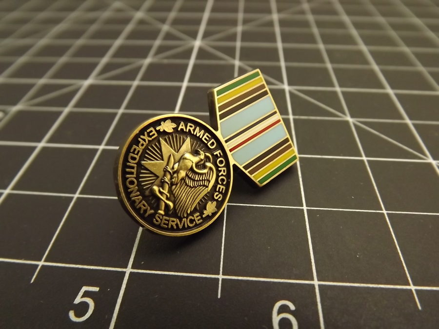 "BRAND NEW Lapel Pin Armed Forces Expeditionary Service Medal Enamel 1 3/16"" 1"