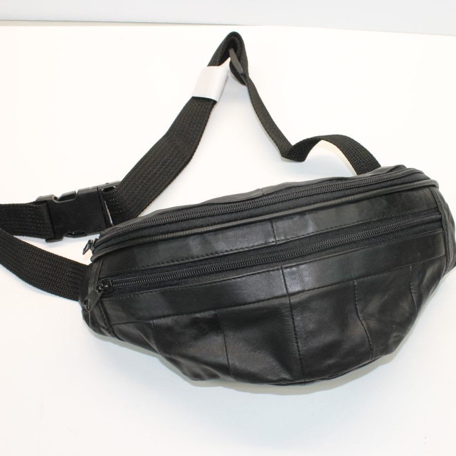 "New Genuine Leather Fanny Pack Hip Bag Adjustable Waist Multi Pocket FLAT FRONT ""BLACK LEATHER"" 1"