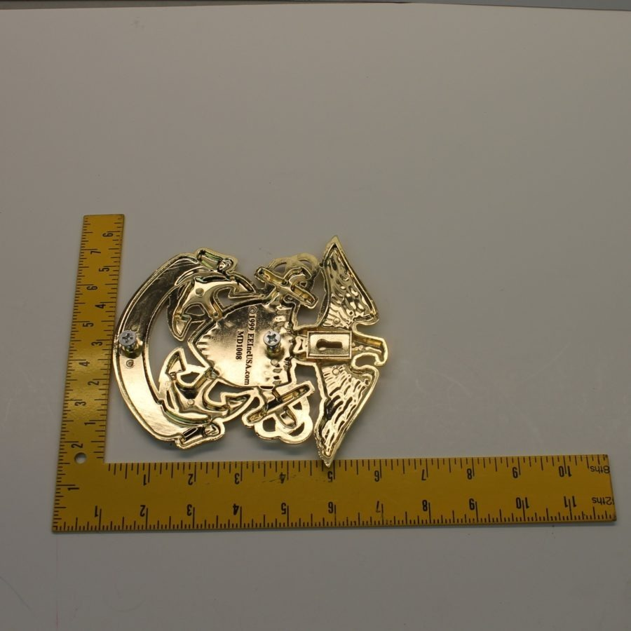 "USN UNITED STATES NAVY GRILL BADGE CAR TRUCK NEW 6-1/4"" BRASS 4"
