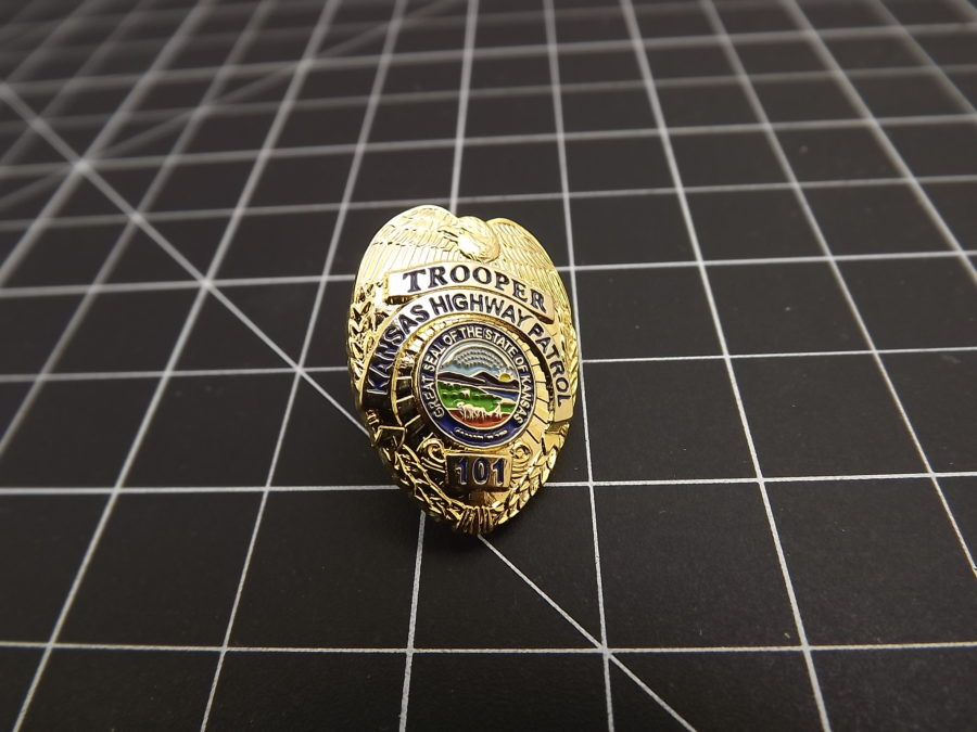 """KANSAS HIGHWAY PATROL"" MINI-BADGE Enamel Lapel Pin BRAND NEW LAST ONE WITH THE OLD DESIGN ENAMEL 1"