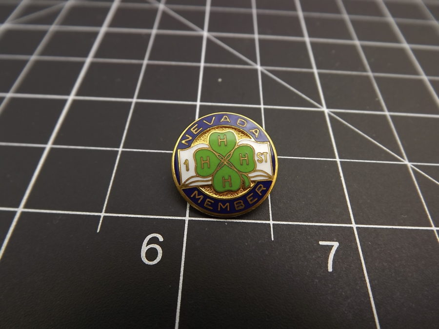 "Vintage enamel 4-H pin ""first prize"" Nevada member pin awarded by First National Bank of Nevada age unknown perfect shape 1"