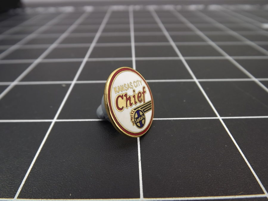 "Brand-New Railroad/Train Enameled Lapel Pin Lifetime Guarantee SANTA FE ""KANSAS CITY CHIEF"" 2"