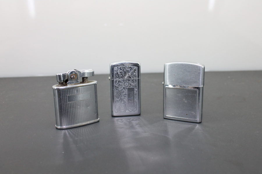 Three Cigarette Lighters for Parts Zippo, Ronson triumph, and a Barlow B54 6