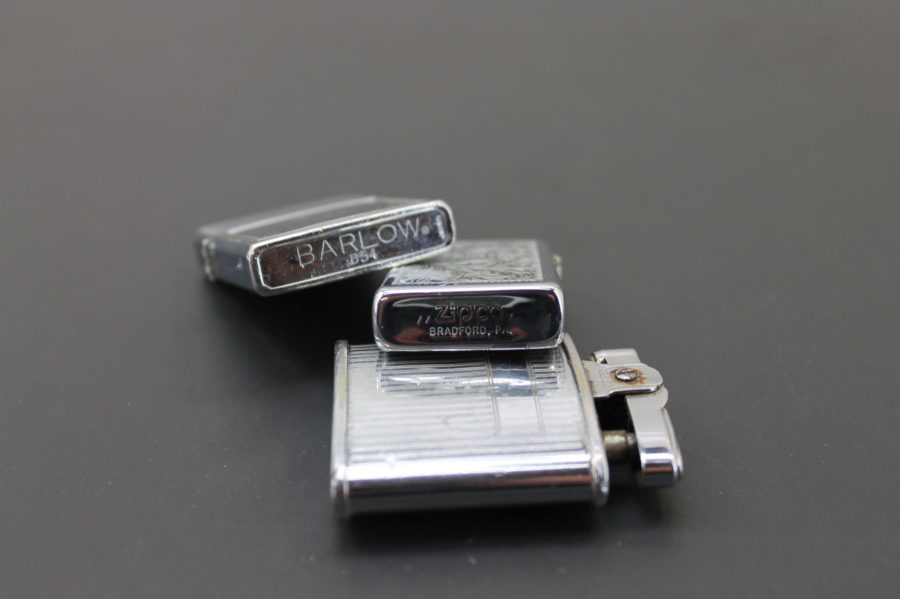Three Cigarette Lighters for Parts Zippo, Ronson triumph, and a Barlow B54 3