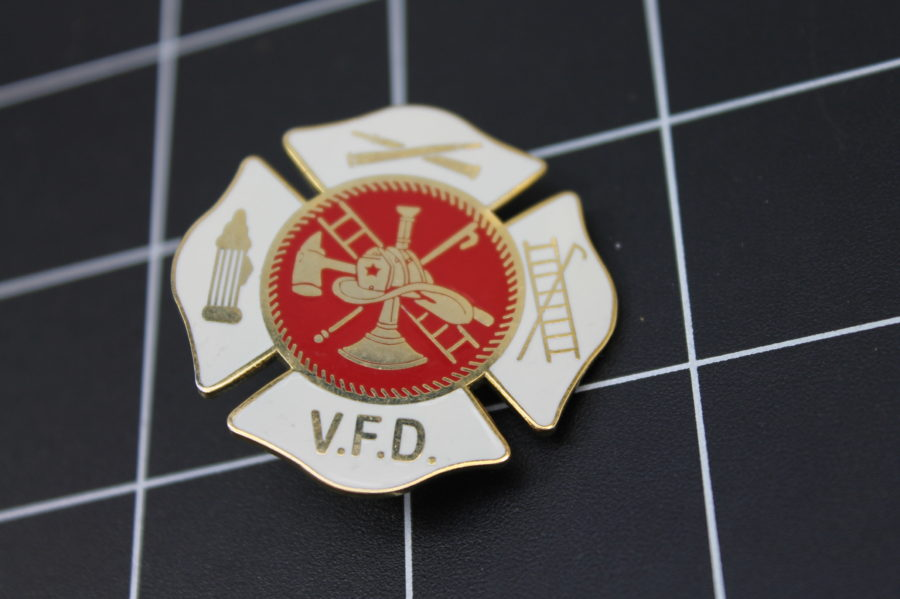 Brand-New VOLUNTEER FIRE DEPARTMENT Fireman Enameled Lapel Pin Lifetime Guarantee V.F.D. 1
