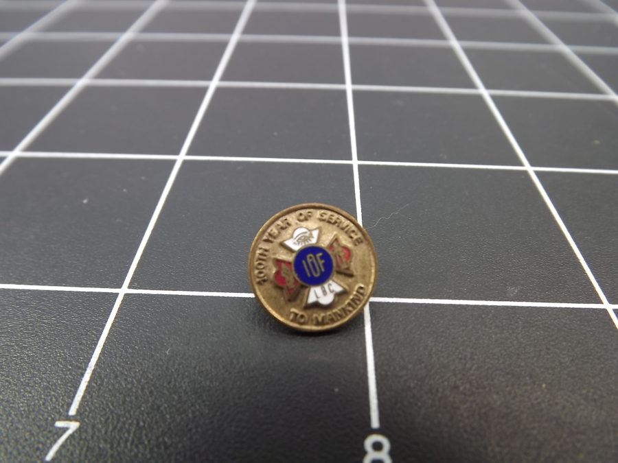 "ANTIQUE BRASS COLORED ""IOF"" FRATERNAL ORGANIZATION ENAMEL LAPEL PIN 2"