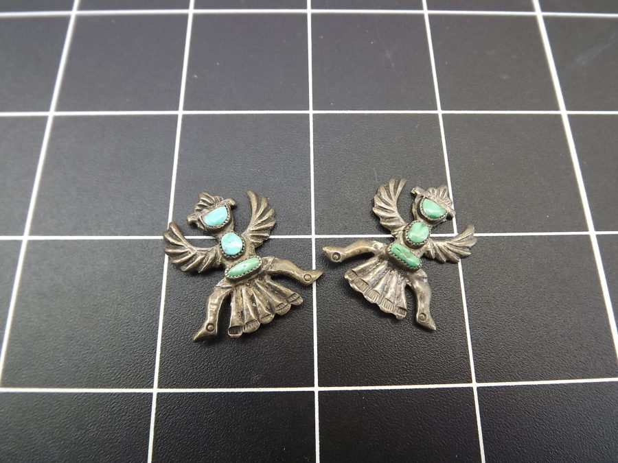 VINTAGE SILVER TONE TURQUOISE PHOENIX NATIVE EARRINGS MISSING BACKS 1