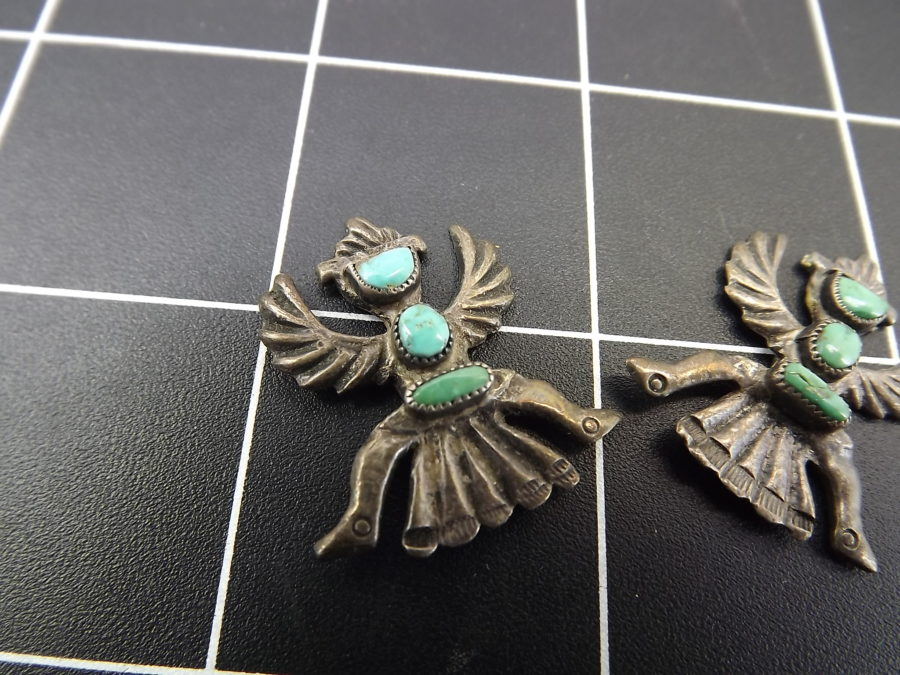 VINTAGE SILVER TONE TURQUOISE PHOENIX NATIVE EARRINGS MISSING BACKS 4