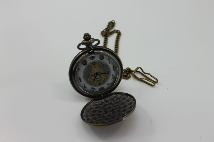 BRAND NEW Masonic Mason Pocket Watch Antique Tone Square & Compass ALTAR  WORKING TOOLS 4