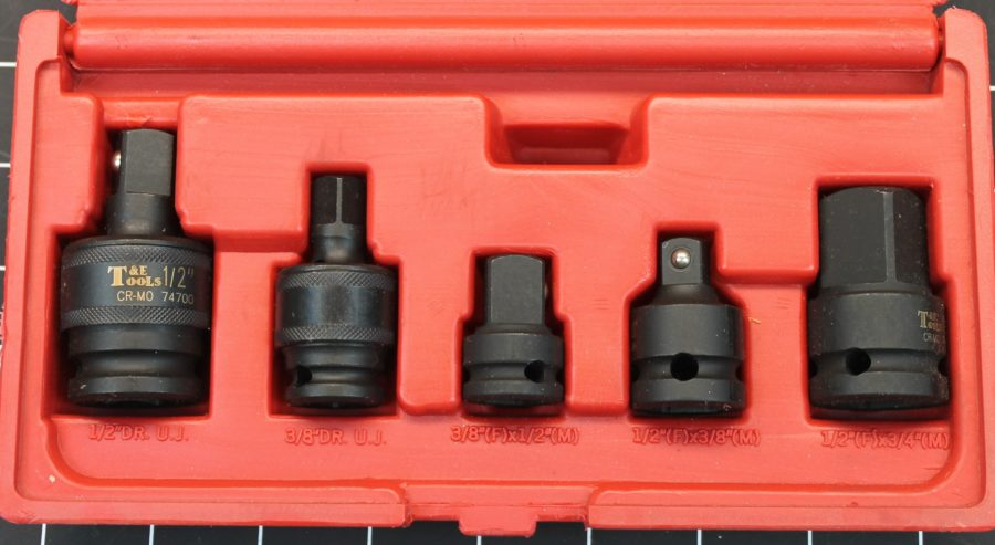 T&E Tools 5-PIECE Impact Adaptor / Universal Joint Set BRAND NEW in red plastic case 3