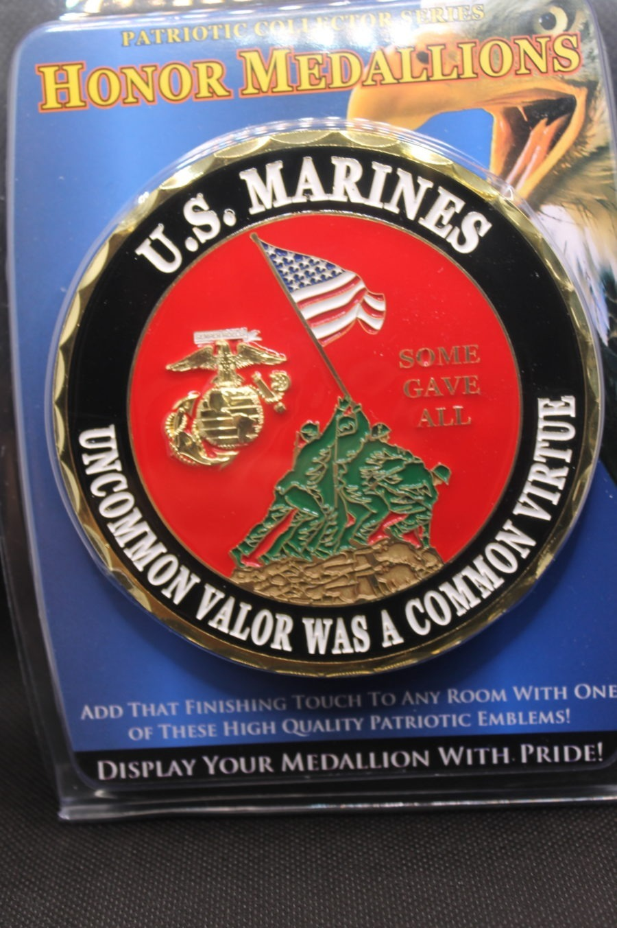 "USMC MARINE CORP LOGO EGA ""UNCOMMON VALOR WAS A COMMON VIRTUE"" EMBLEMS BRAND NEW NR BRASS WALL OR CAR MOUNT 2"