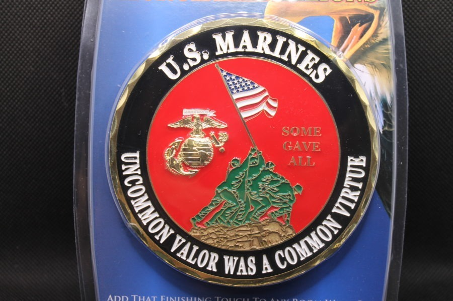 "USMC MARINE CORP LOGO EGA ""UNCOMMON VALOR WAS A COMMON VIRTUE"" EMBLEMS BRAND NEW NR BRASS WALL OR CAR MOUNT 1"
