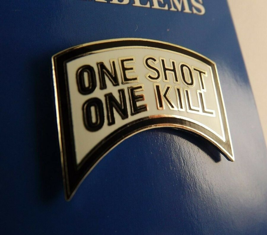 "BRAND NEW Lapel Pin One Shot One Kill Tab White & Black Enamel 1 1/8"" 1"