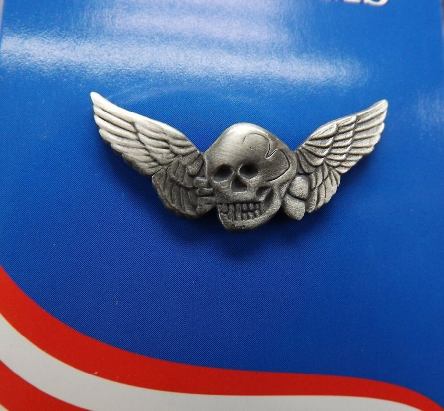 "BRAND NEW Lapel Pin Pewter Death Wing Skull 1 1/4"" 1"