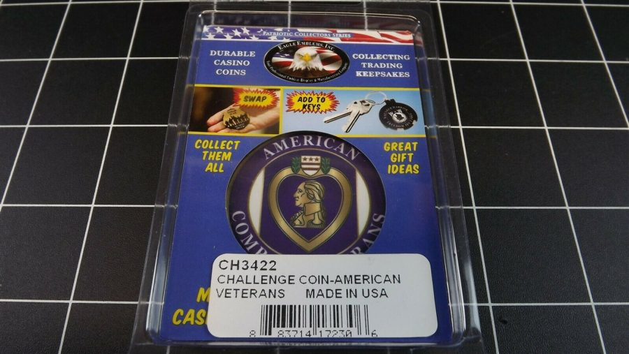 "CHALLENGE COIN, BRAND NEW DESIGN ""COMBAT VETERANS"" PATRIOTIC PURPLE HEART 3"