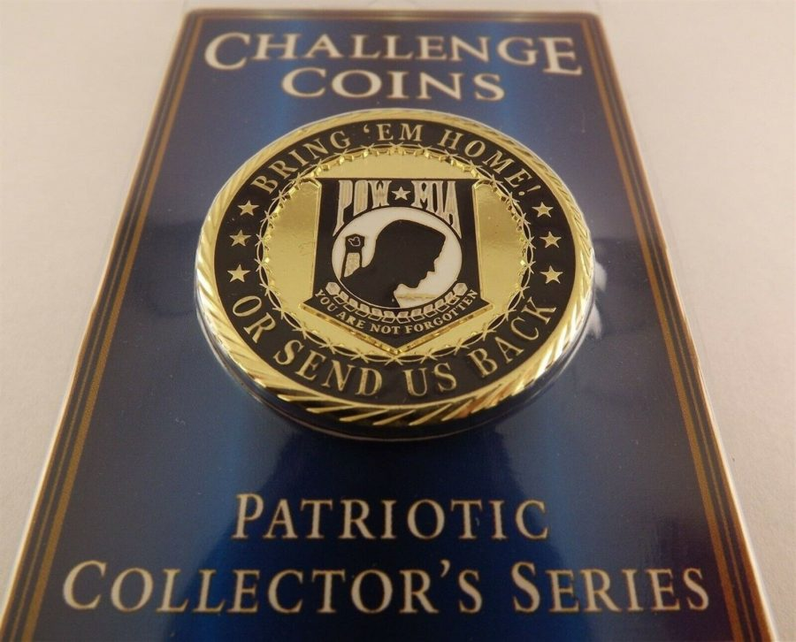 "CHALLENGE COIN, NEW POW*MIA BRING 'EM HOME Enameled PATRIOTIC 1-5/8"" NEW 1"