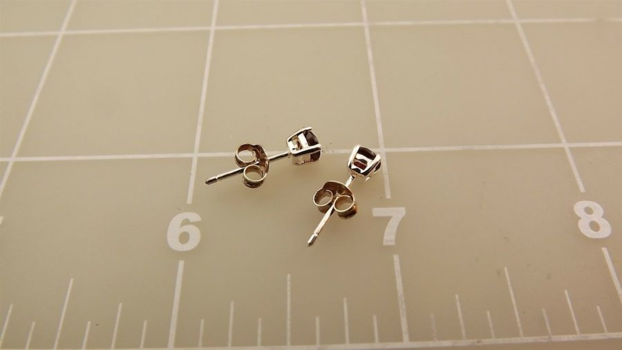 Sterling Silver 925 Round GARNET Stud Earrings Approx. 4mm Diameter 4