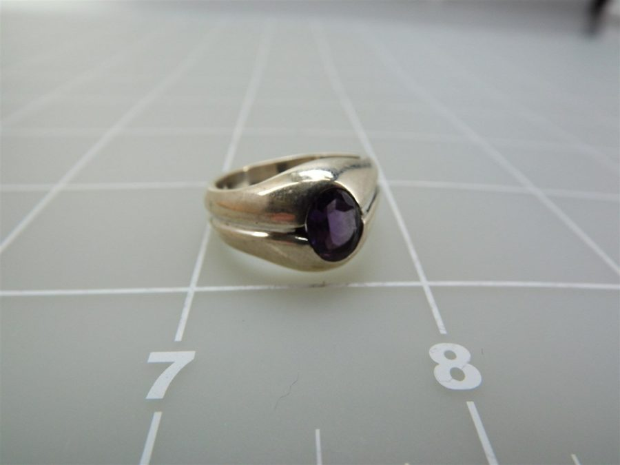 Sterling Silver Genuine Oval Amethyst Ring 925 3