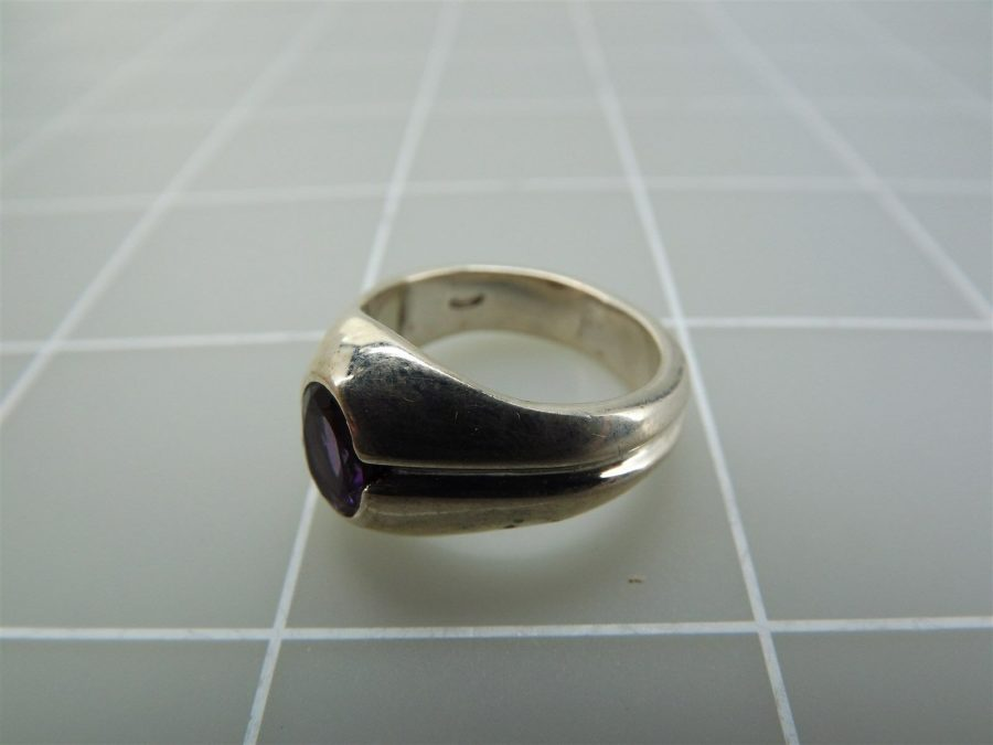 Sterling Silver Genuine Oval Amethyst Ring 925 4