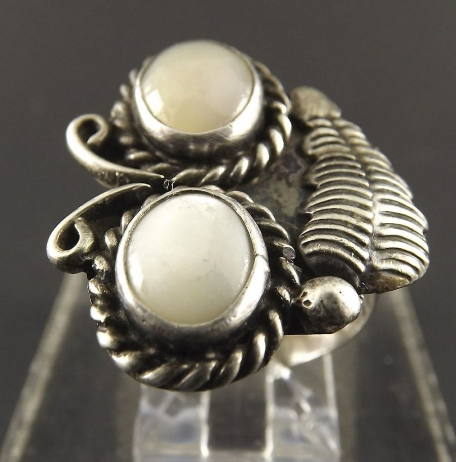 Vintage Sterling Silver Native Indian Mother Of Pearl Moonstone Ring Tribal 1