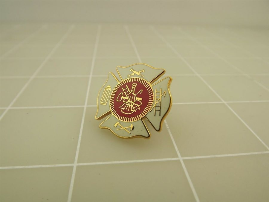 BRAND NEW Fireman Fire Department TOOLS Red & White Enameled Lapel Pin 1