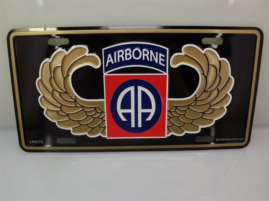 LICENSE PLATE U.S. ARMY 82ND AIRBORNE STANDARD SIZE MILITARY NEW LOGO EMBOSSED 1