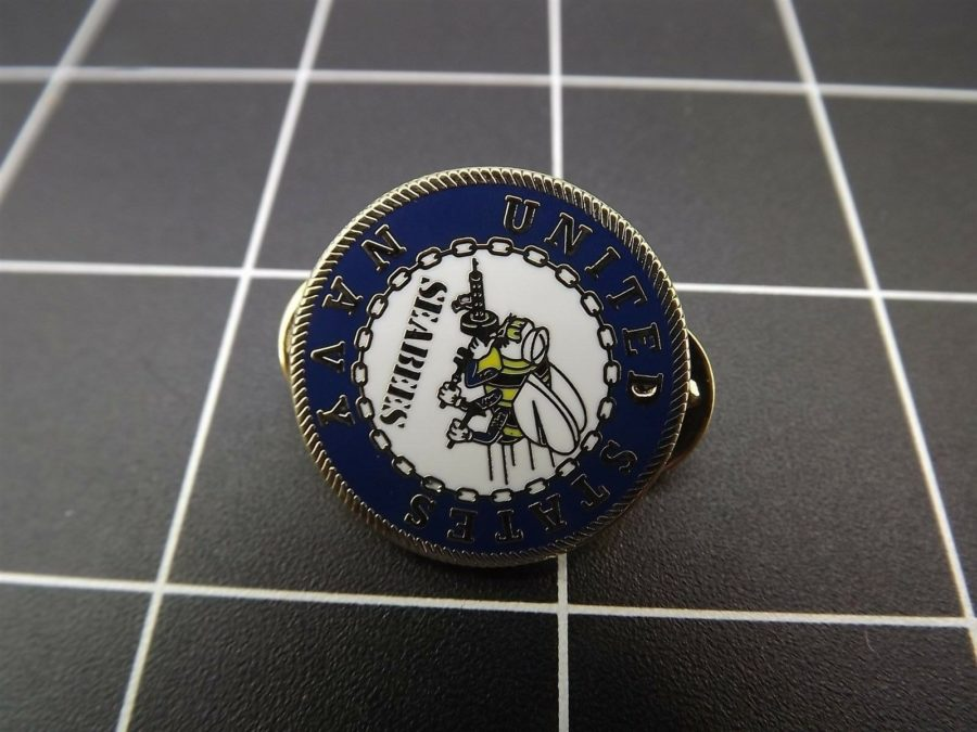 "NEW Lapel Pin UNITED STATES NAVY ""SEABEES"" 1"" ROUND 3"