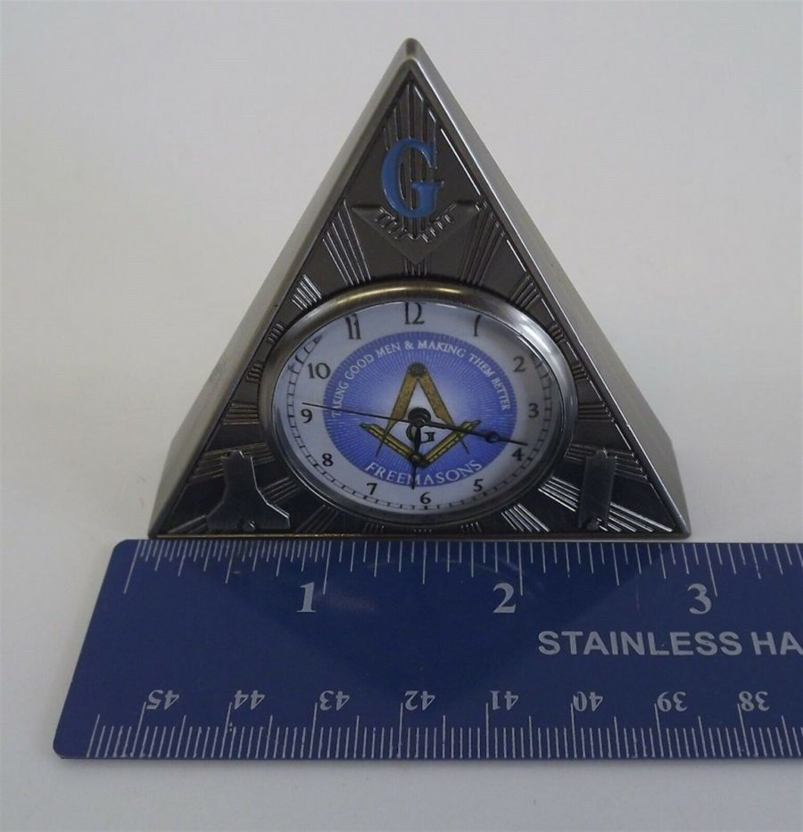 New Masonic Mason Triangle Table Clock Office Desk Clock Paperweight Freemasons 5