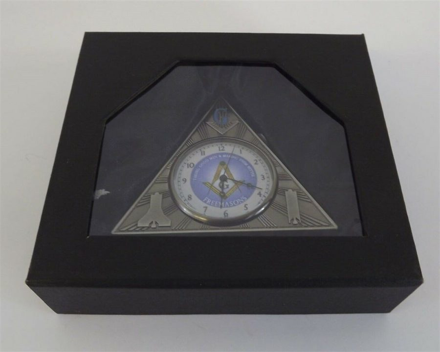 New Masonic Mason Triangle Table Clock Office Desk Clock Paperweight Freemasons 6