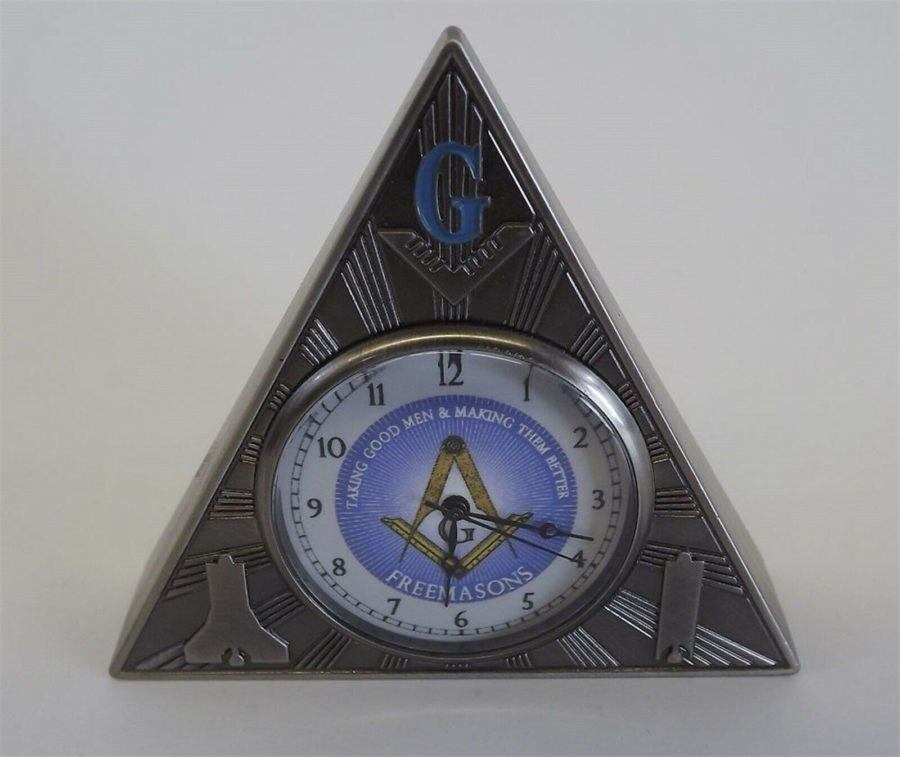New Masonic Mason Triangle Table Clock Office Desk Clock Paperweight Freemasons 1