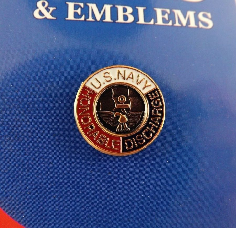 "BRAND NEW Lapel Pin United States Navy Honorable Discharge Red White Blue 5/8"" 1"