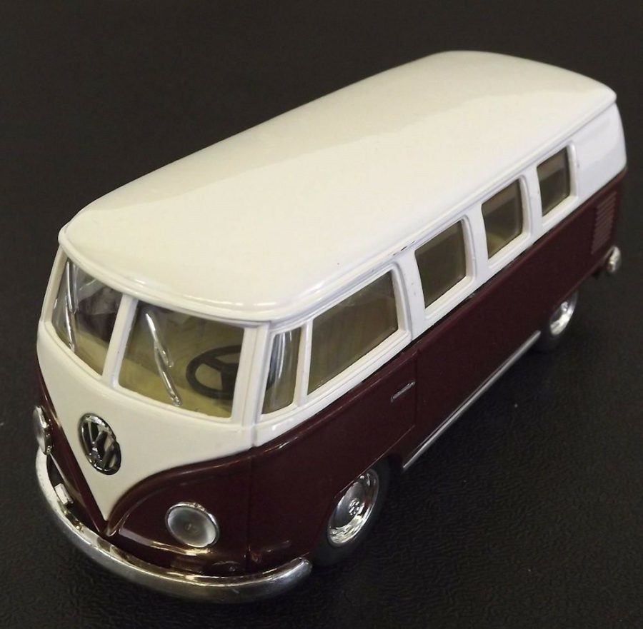 Collectible Die Cast MAROON 1962 Volkswagen Classic Bus VW 1:32 Scale Kinsmart 1
