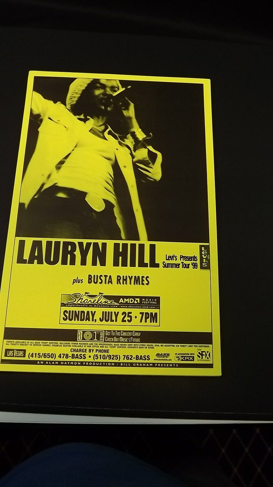 Genuine 1999 LAURYN HILL W/ BUSTA RHYMES Summer Tour Concert Poster Flyer Ad 1