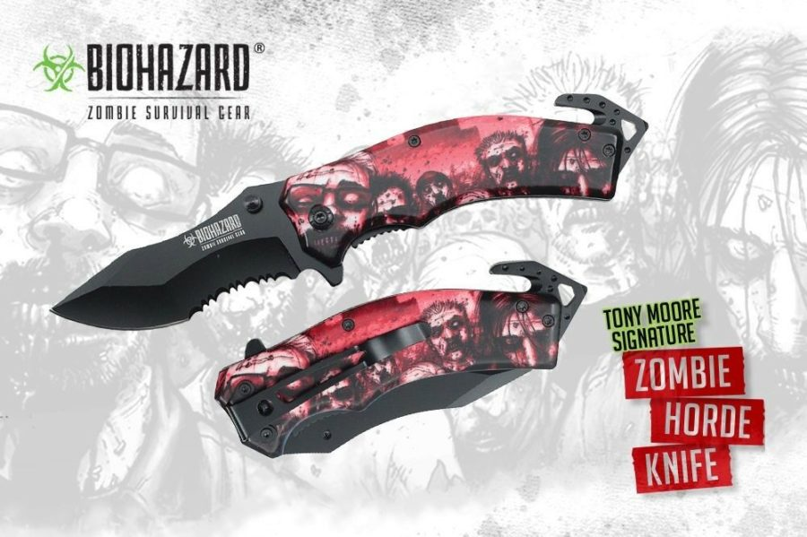 """RED"" WALKING Dead Zombie Horde Assisted Opening Knife Tony Moore Licensed 1"