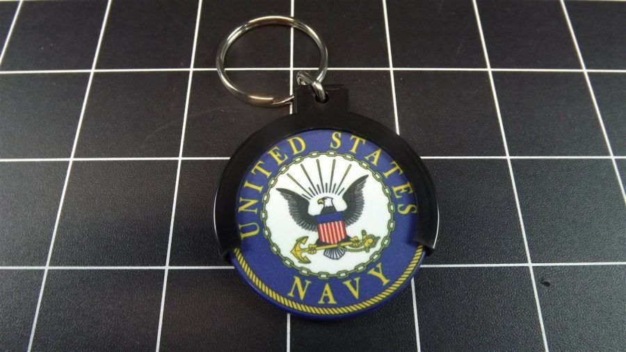 "CHALLENGE COIN HOLDER KEY RING KEY CHAIN ""UNITED STATES NAVY"" USN 1"