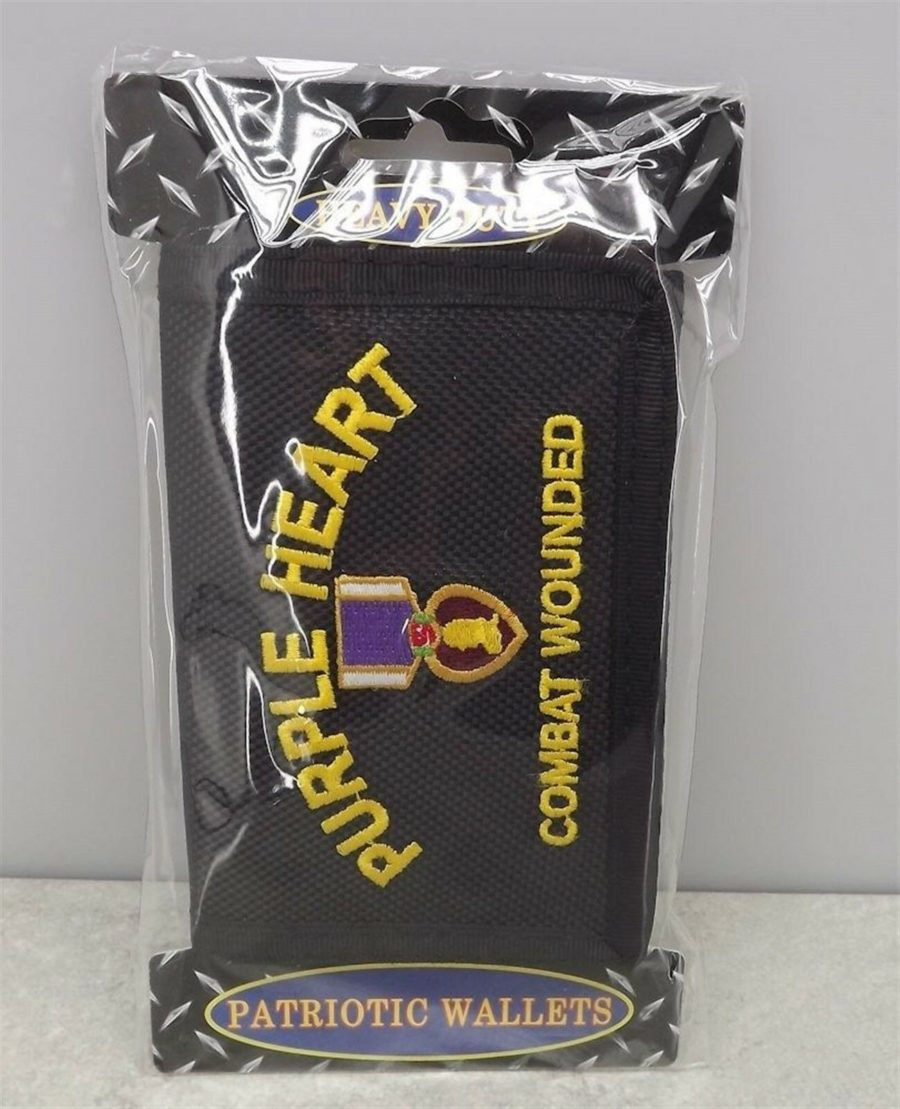 "WALLET ""PURPLE HEART COMBAT WOUNDED"" NYLON TRI-FOLD EMBROIDERED NEW 3"