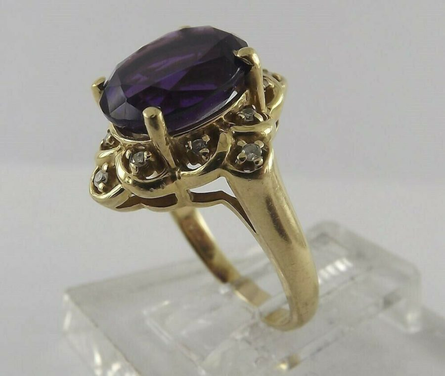 14Kt Solid Yellow Gold Oval Amethyst Diamond Cocktail Ring 14K 14 Karat 3