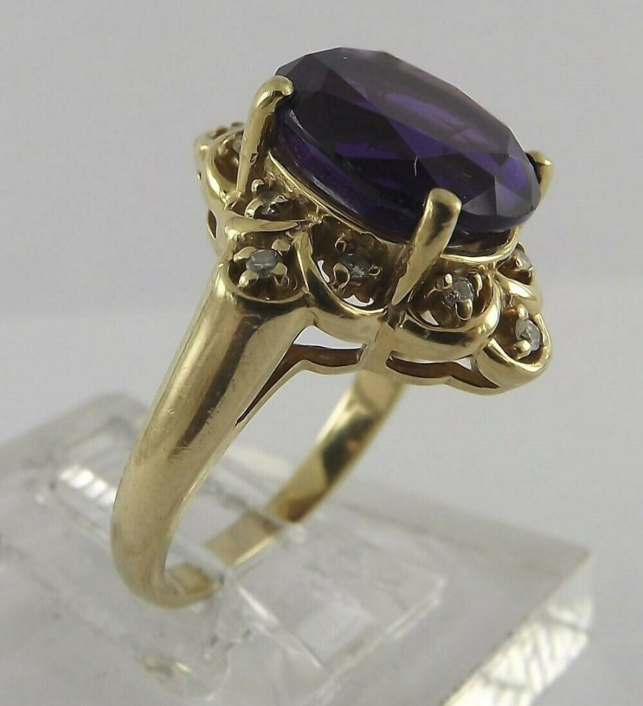 14Kt Solid Yellow Gold Oval Amethyst Diamond Cocktail Ring 14K 14 Karat 4