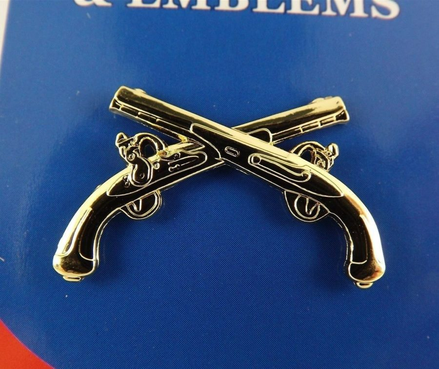 "BRAND NEW Lapel Pin Military / Police Crossed GUNS Gold Tone 1 1/4"" 1"