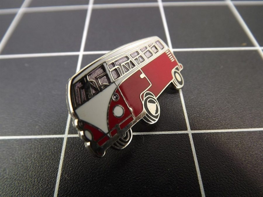 "BRAND NEW Lapel Pin "" VOLKSWAGEN MICROBUS"" ENAMELED LIFETIME GUARANTEE VW RED 2"