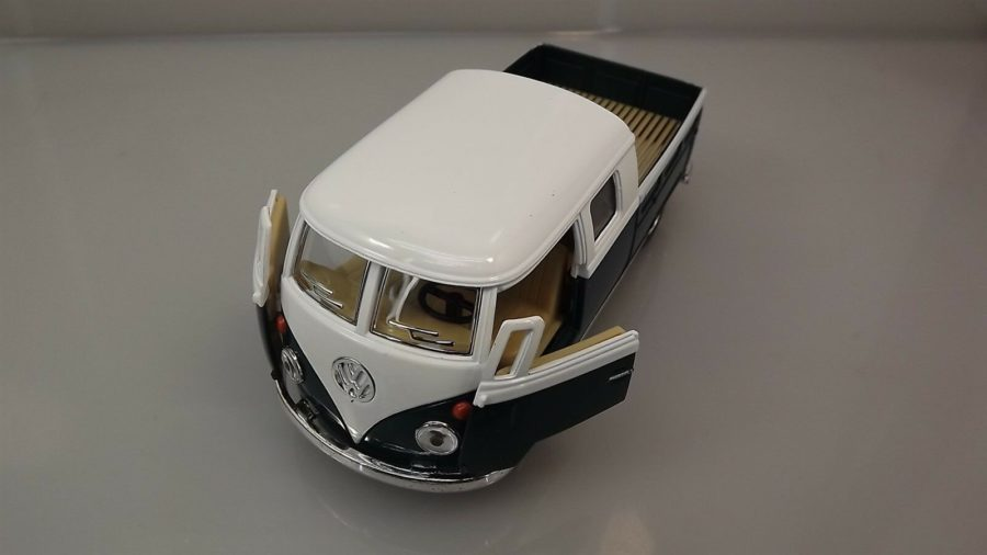 Die Cast Green 1963 Double Cab Pickup Volkswagen Classic Bus 1:34 Scale New 6