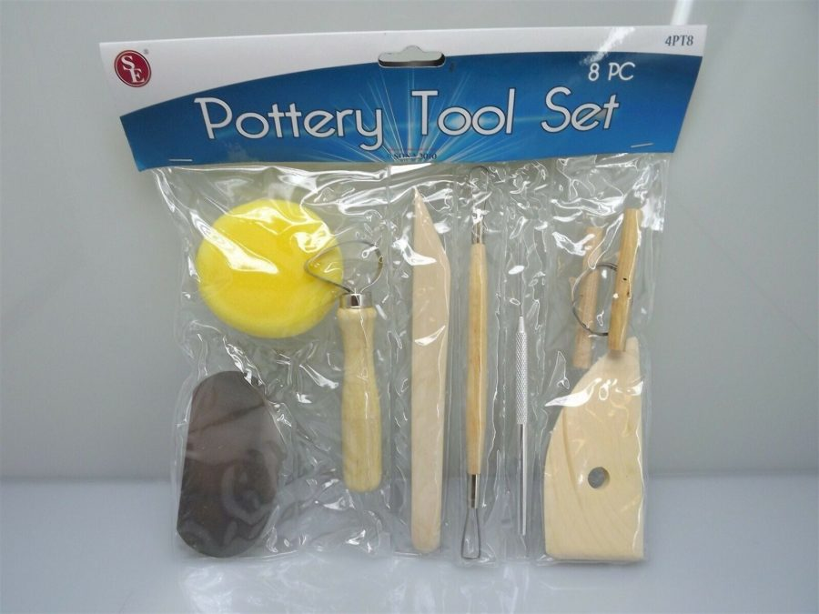 BRAND NEW SET Mahogany Pottery Tool 8-PIECE TRIMMING,  SHAVING AND RIB SPONGE 1