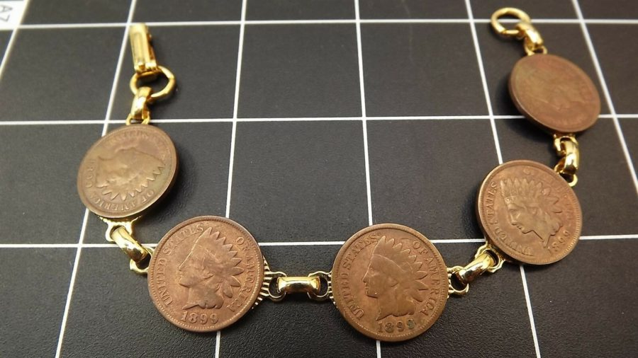 "DEAD PAWN Vintage Handmade 1899 INDIAN HEAD PENNY Gold Tone Bracelet 7"" long 3"