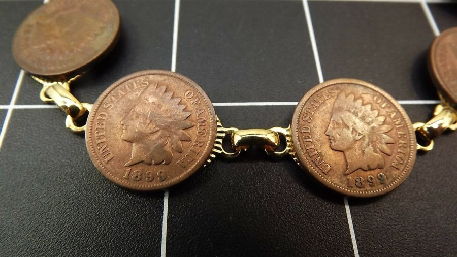 "DEAD PAWN Vintage Handmade 1899 INDIAN HEAD PENNY Gold Tone Bracelet 7"" long 4"