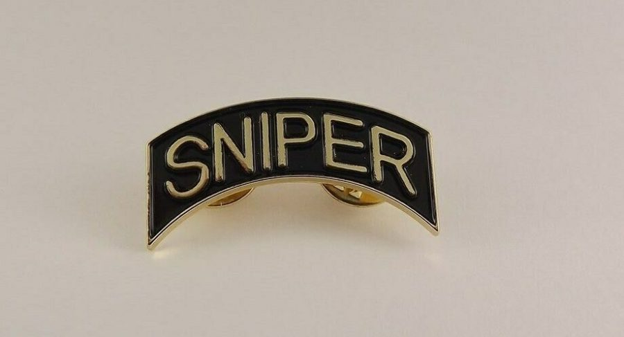 "Lapel pin NEW ""SNIPER"" METAL BRAND NEW ""BLACK/GOLD"" DOUBLE PIN 1-1/4"" wide 1"