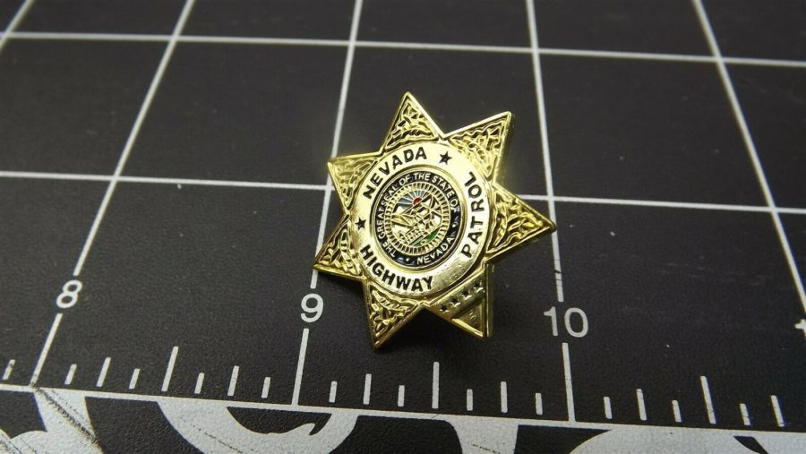 """NEVADA HIGHWAY PATROL"" MINI-BADGE Enamel Lapel Pin BRAND NEW 3"