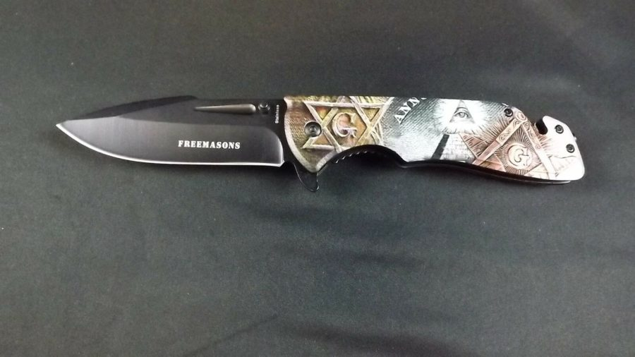 New Tactical Masonic Mason Folding Pocket Knife FREEMASON Square & Compass 2