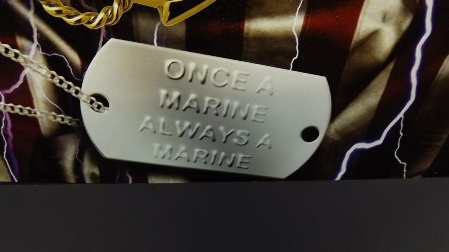 "USMC MARINE CORPS METAL SIGN 12"" X 15"" BRAND NEW SEMPER FIDELIS ""DOG TAG"" 4"