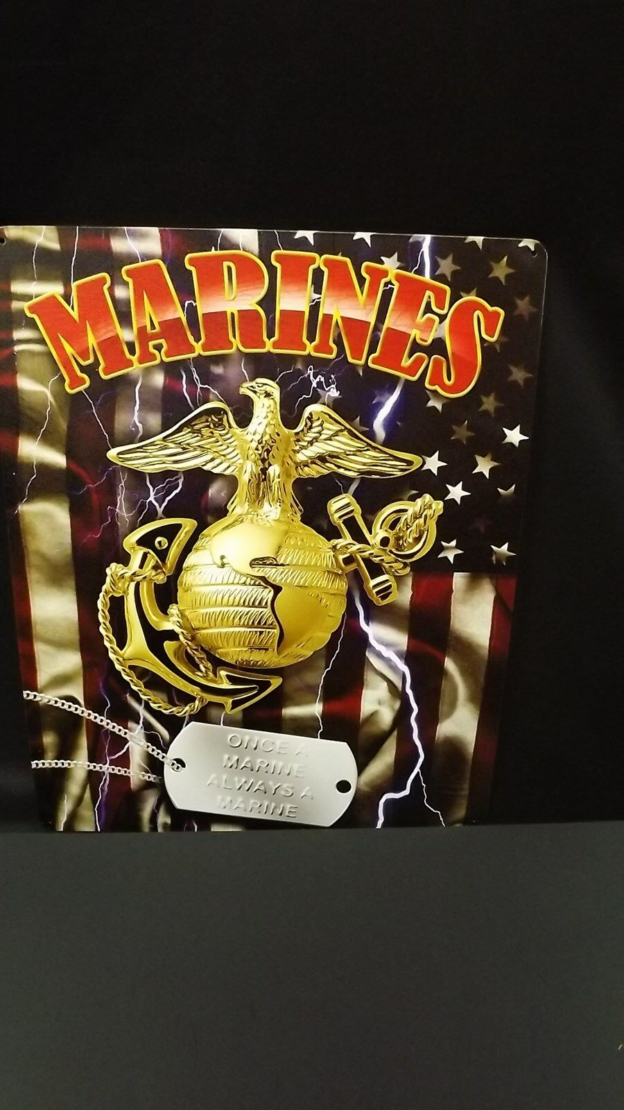 "USMC MARINE CORPS METAL SIGN 12"" X 15"" BRAND NEW SEMPER FIDELIS ""DOG TAG"" 1"