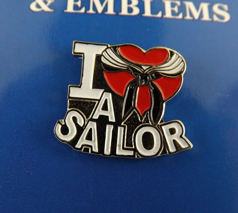 "BRAND NEW Lapel Pin USN I Heart A Sailor Red Enamel LOVE 1"" 1"